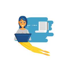 woman sitting with laptop computer and paper vector image