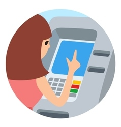 Woman using ATM machine round vector