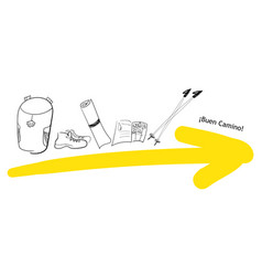 Yellow arrow and pilgrim needed things backpack vector