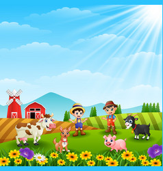 Young farmers activities in the farm vector