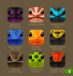 animal faces for app icons-tree frogs set vector image vector image