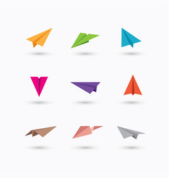 colorful paper plane icons vector image