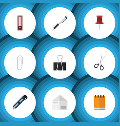 flat icon tool set of pencil knife fastener page vector image vector image