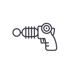 plasma gun line icon sign on vector image vector image
