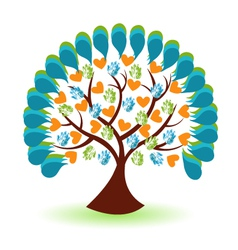 Tree hands and heart logo vector image vector image