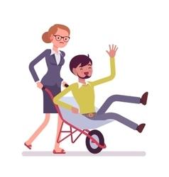 Woman pushing a man in the wheelbarrow vector image vector image