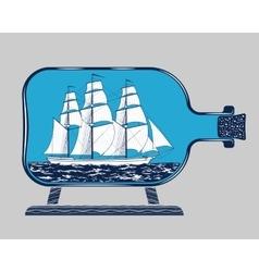 Bottle ship 1 vector image
