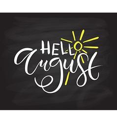 Hello august postcard card invitation flyer banner vector
