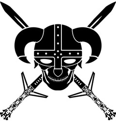 helmet and swords of fantasy warrior first variant vector image vector image
