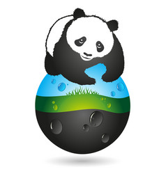 panda and the earth symbol vector image
