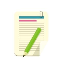 Paper Sheet Pencil Pen Icon vector image vector image