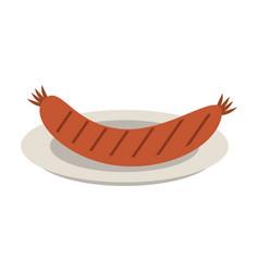 sausage on dish vector image