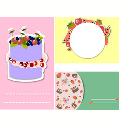 set of templates for birthday party invitation vector image