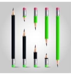Short and long pencil set vector image vector image