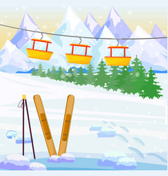 ski winter background snow mountains vector image vector image