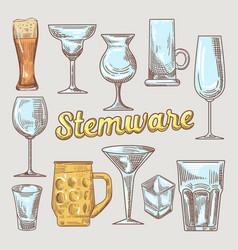 stemware hand drawn glasses vector image vector image