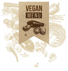vegan menu craft label vector image vector image