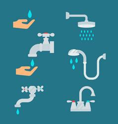 Water tap with drop bathroom ico process savings vector