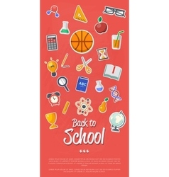 Back to school banner with flat icons vector image