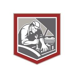 Car mechanic repair automobile shield retro vector
