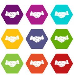 handshake icon set color hexahedron vector image vector image