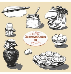 Homemade cakes set vector image