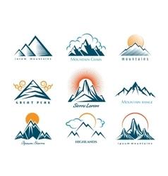 Mountain logo set vector image