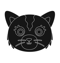 Cat muzzle icon in black style isolated on white vector
