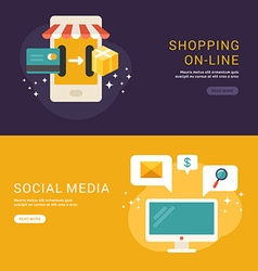 Flat Design Concept for Web Banners Shopping vector image