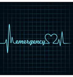 heartbeat make a emergency text and heart symbol vector image vector image
