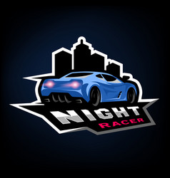 night street racer emblem logo vector image