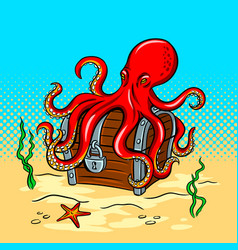 octopus guards treasure chest pop art vector image vector image