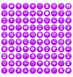 100 phobias icons set purple vector