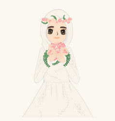 A muslim bride holds flower vector