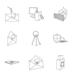 A selection of icons about protection and breaking vector