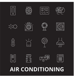 air conditioning editable line icons set on vector image
