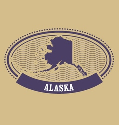 Alaska map silhouette - oval stamp vector