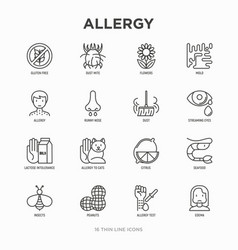 Allergy thin line icons set runny nose dust vector