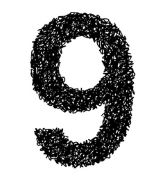 alphabet 9 vector image