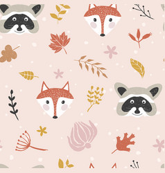 autumn seamless pattern with forest animals vector image