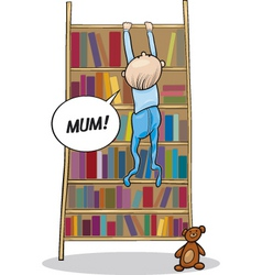 Baboy climbing on bookcase vector