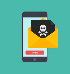 Back malware notification in email on mobile phone vector
