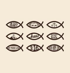 Big set christian fish vector