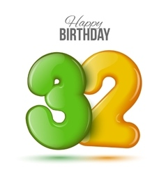 birthday Greeting card with numbers 32 thirty vector image