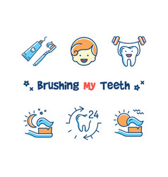Brushing my teeth card children dentistry icons vector
