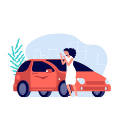 Car scratches sad woman flat worry girl with red vector