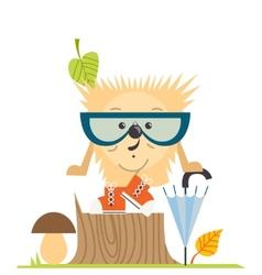 Cartoon Hedgehog Hipster Style vector image