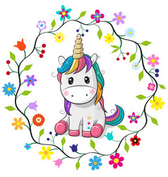 Cartoon unicorn in a flowers frame vector
