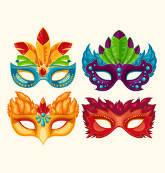 collection cartoon carnival masks decorated vector image