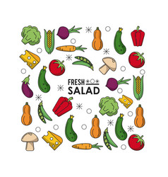 colorful poster of fresh salad with vegetables and vector image